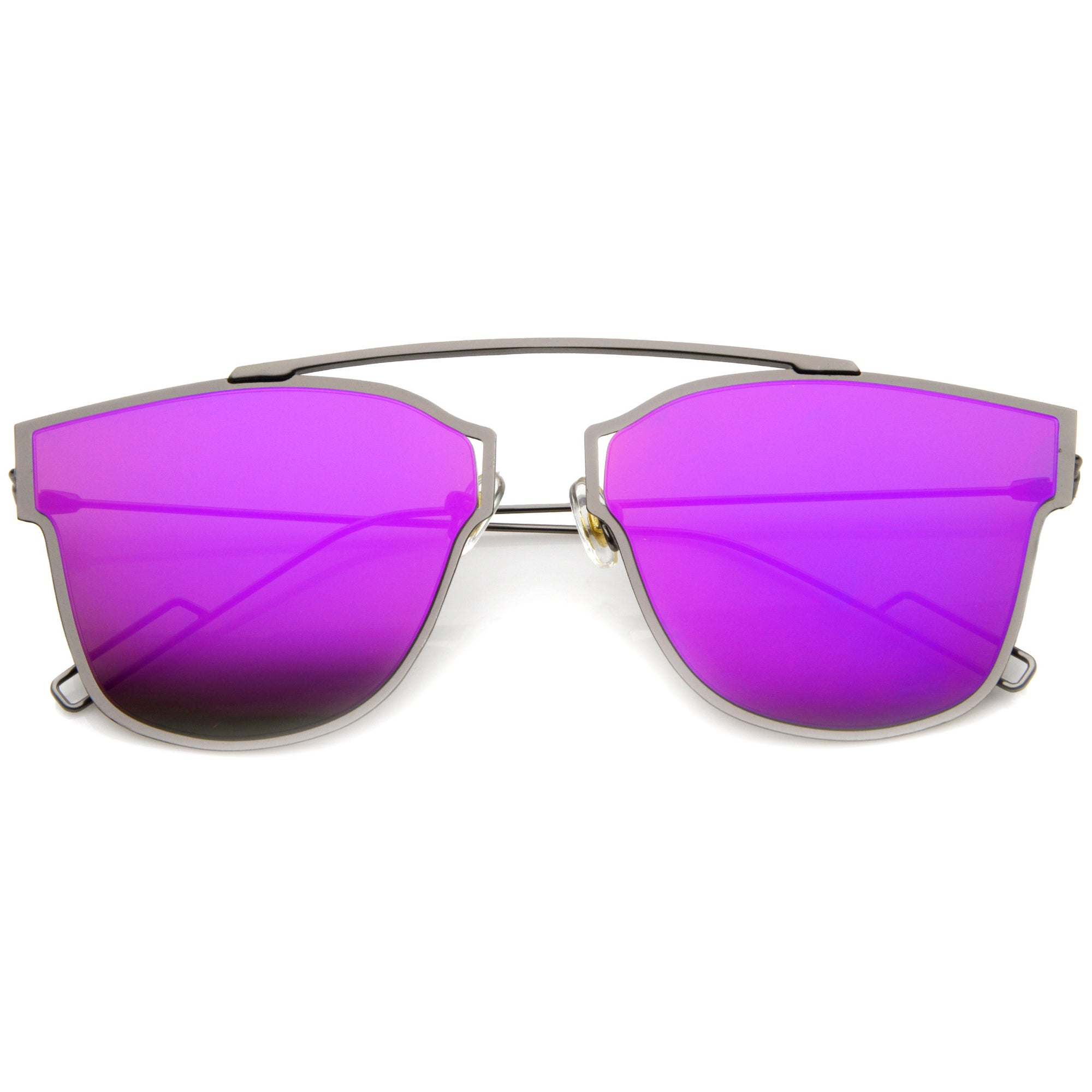 dcd49e4292 Modern Flash Mirror Flat Lens Thin Wire Frame Sunglasses A384 · Gunmetal  Purple Mirror