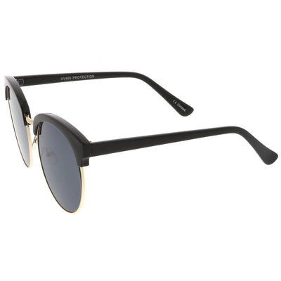 Chic Oversize Flat Lens Browline Half Frame Sunglasses A531