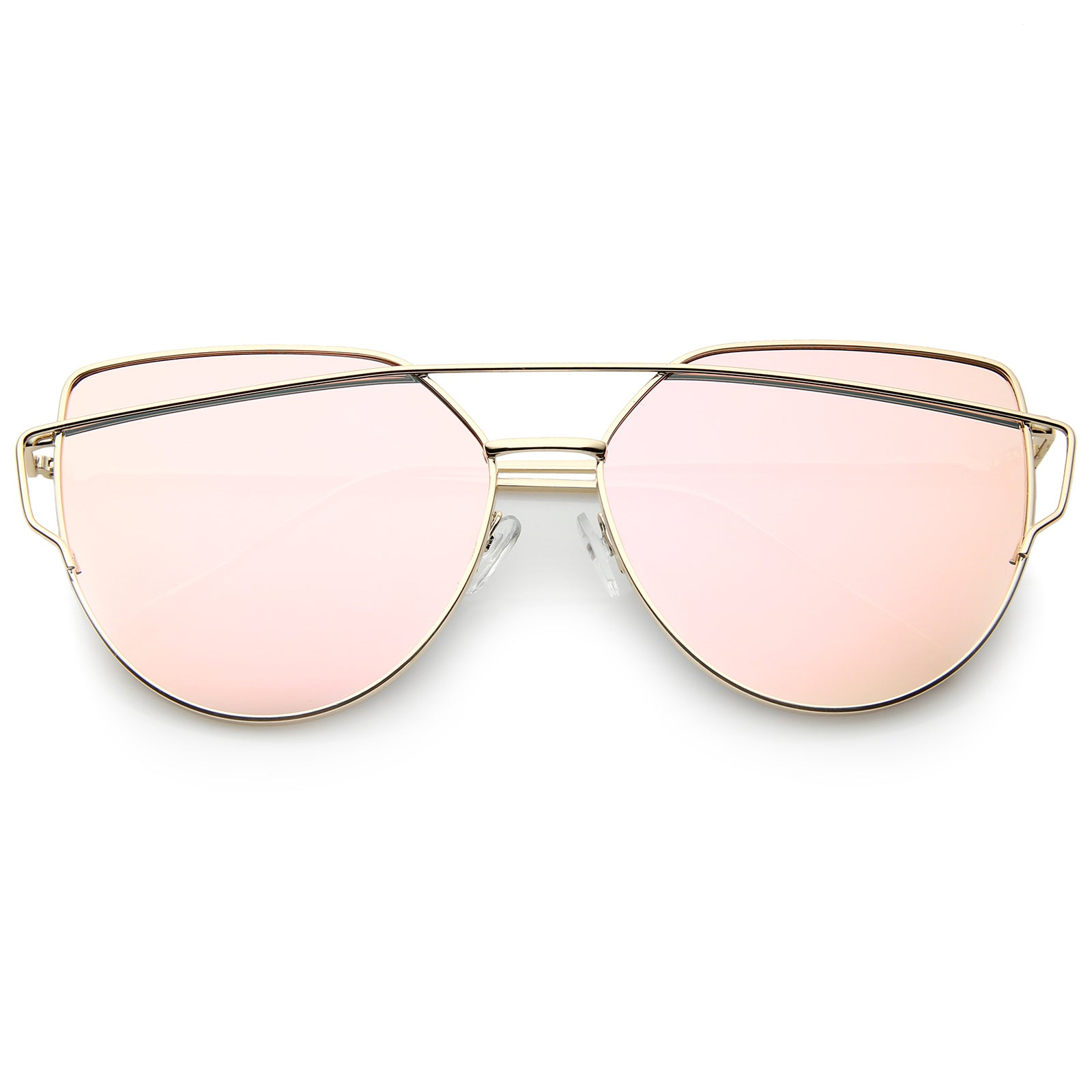 Oversize Thin Cross Brow Mirrored Flat Lens Sunglasses A545