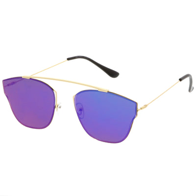 Ulture Slim Modern metal Crossbar Mirror Flat Lens Sunglasses A652