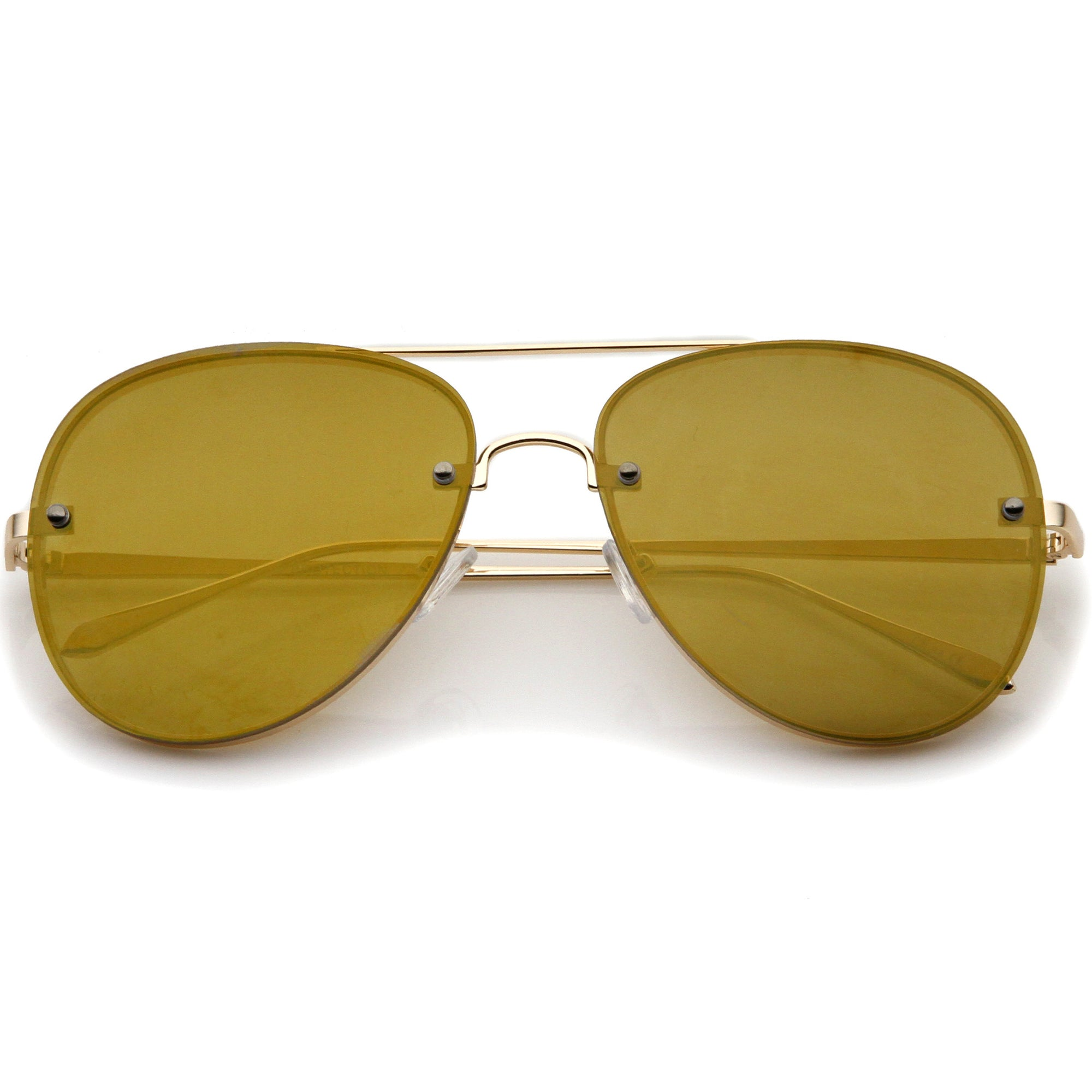 04e58da6f83b ... Modern Rimless Mirrored Flat Lens Aviator Sunglasses 60mm A849 · Gold  Gold Mirror