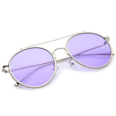 Modern Slim Round Color Tone Aviator Sunglasses A871