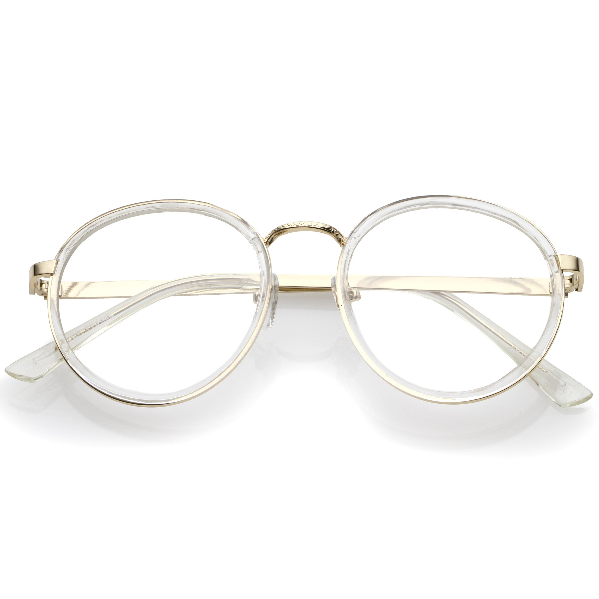 Vintage Round Dapper Clear Lens Glasses A889