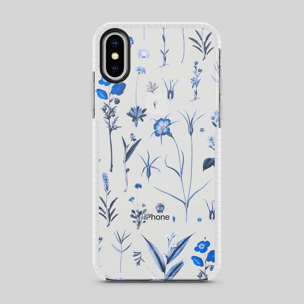 TOUGH BUMPER IPHONE CASE - BLUE BOTANICA