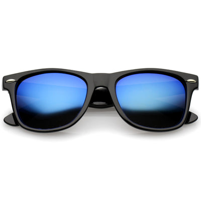 Retro Lifestyle Polarized Mirrored Lens Square Horn Rimmed Sunglasses C101
