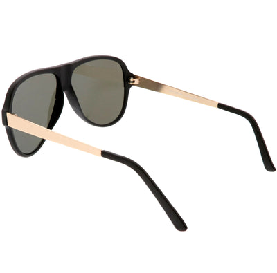 Retro Color Mirrored Flat Lens Flat Top Aviator Sunglasses C238