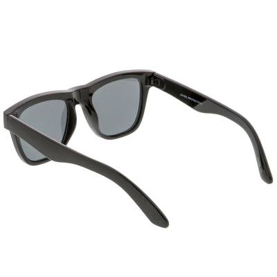 Classic Thick Arms Flat Lens Square Horn Rimmed Sunglasses C286