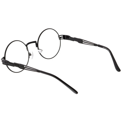 Retro Dapper Round Metal Clear Lens Glasses C300