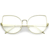 Women's Over Size Clear Flat Lens Cat Eye Glasses C302