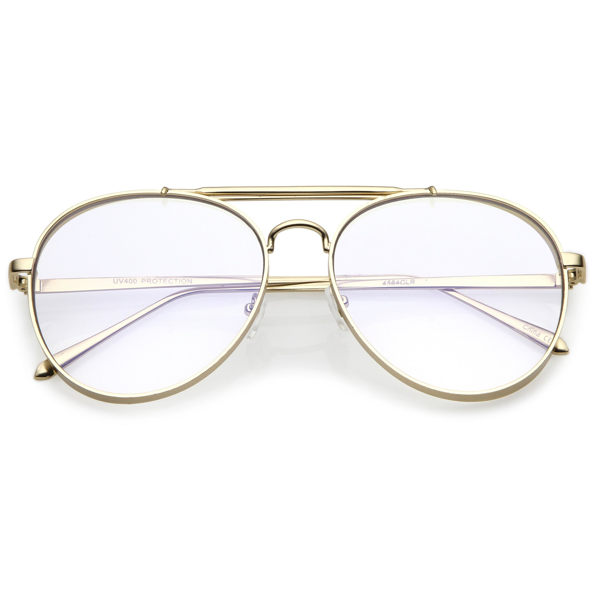 Oversize Retro Dapper Clear Flat Lens Aviator Glasses C326