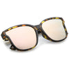 Women's Horned Rim Flat Infinity Mirrored Lens Sunglasses C330