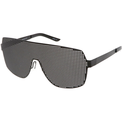 Futuristic Novelty Flat Top Metal Mesh Grade Lens Shield Glasses C339