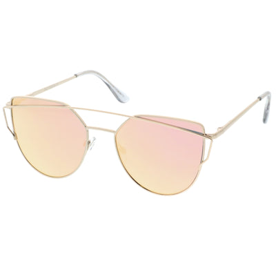 Premium Oversize Laser Cut Cat Eye Mirrored Flat Lens Sunglasses C358