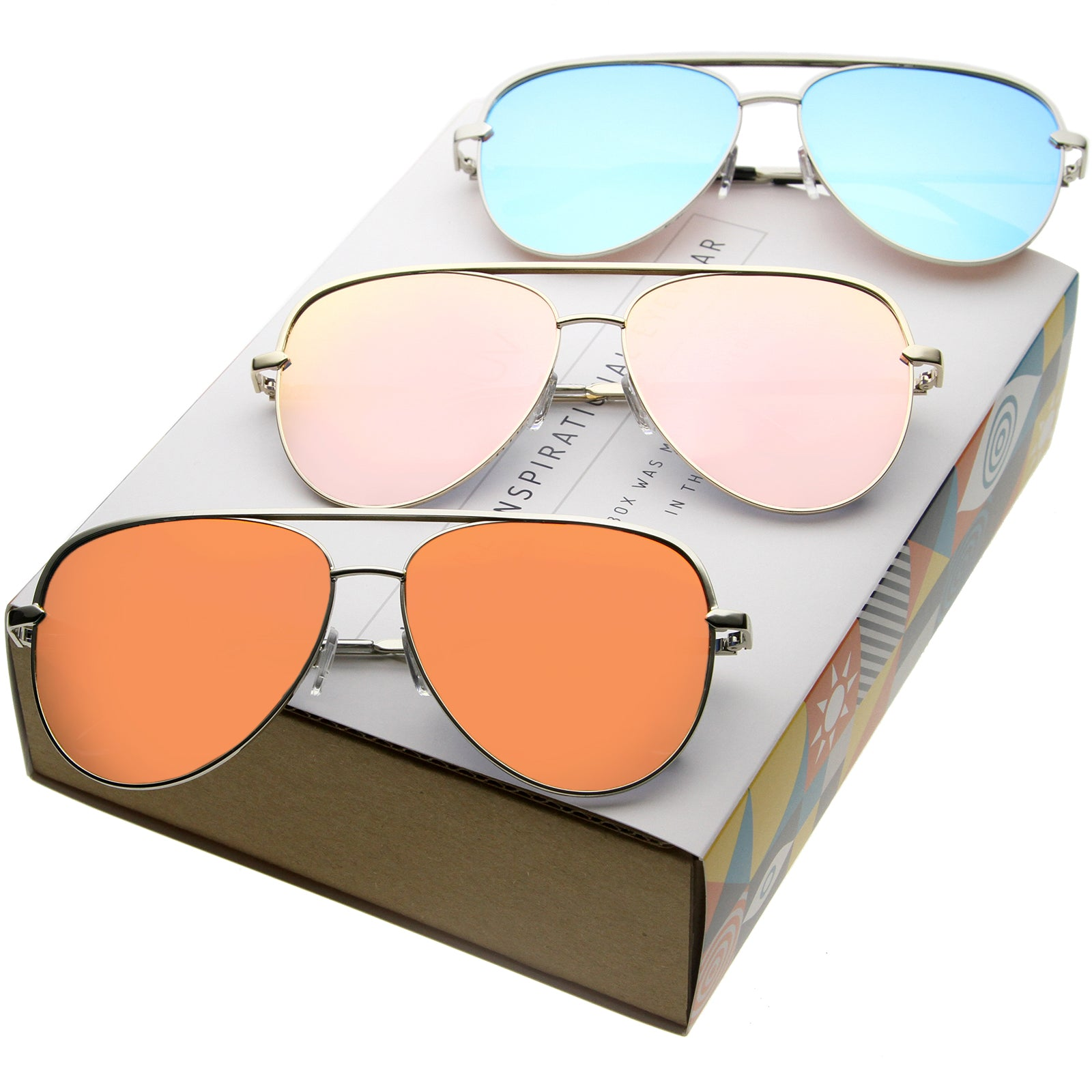 bc677602d578 ... Modern Flat Mirrored Lens Aviator Sunglasses C361  Promo Box  · Mixed  Promo Box