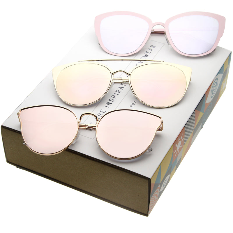 Women's Premium Metal Mirrored Flat Lens Cat Eye Sunglasses C362 [Promo Box]