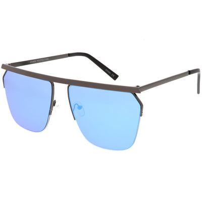 Modern Half Frame Full Metal Flat Top Mirrored Lens Aviator Sunglasses C398