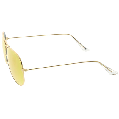 Premium Small Colored Mirror Glass Lens Classic Matte Metal Aviator Sunglasses C770
