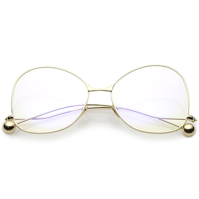 Women's Vintage Oversize Butterfly Clear Lens Glasses C418