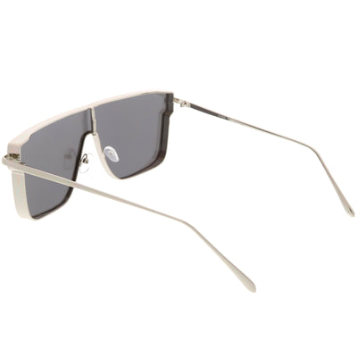 Retro Modern Flat Top Mirrored Lens Shield Aviator Sunglasses C421