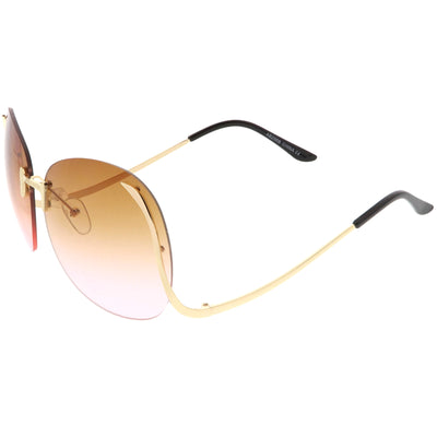 Rimless Curved Metal Arms Round Color Tinted Lens Oversize Sunglasses C428