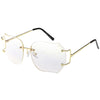 Oversize Rimless Square Glasses Slim Metal Beveled Clear Lens C433