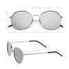 Retro Flash Mirrored Round Flat Lens Metal Sunglasses C436