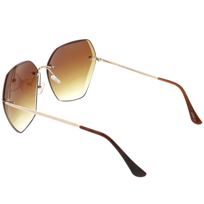Oversize Rimless Beveled Gradient Lens Geometric Sunglasses C438