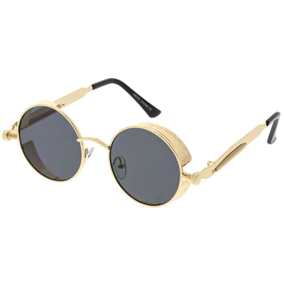 Retro Steampunk Colorful Round Flat Lens Sunglasses C442