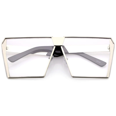 Retro Modern Space Laser Flat Top Clear Lens Glasses C445