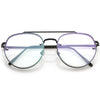 Retro Slim Brow Round Flat Clear Lens Aviator Glasses 59mm C450