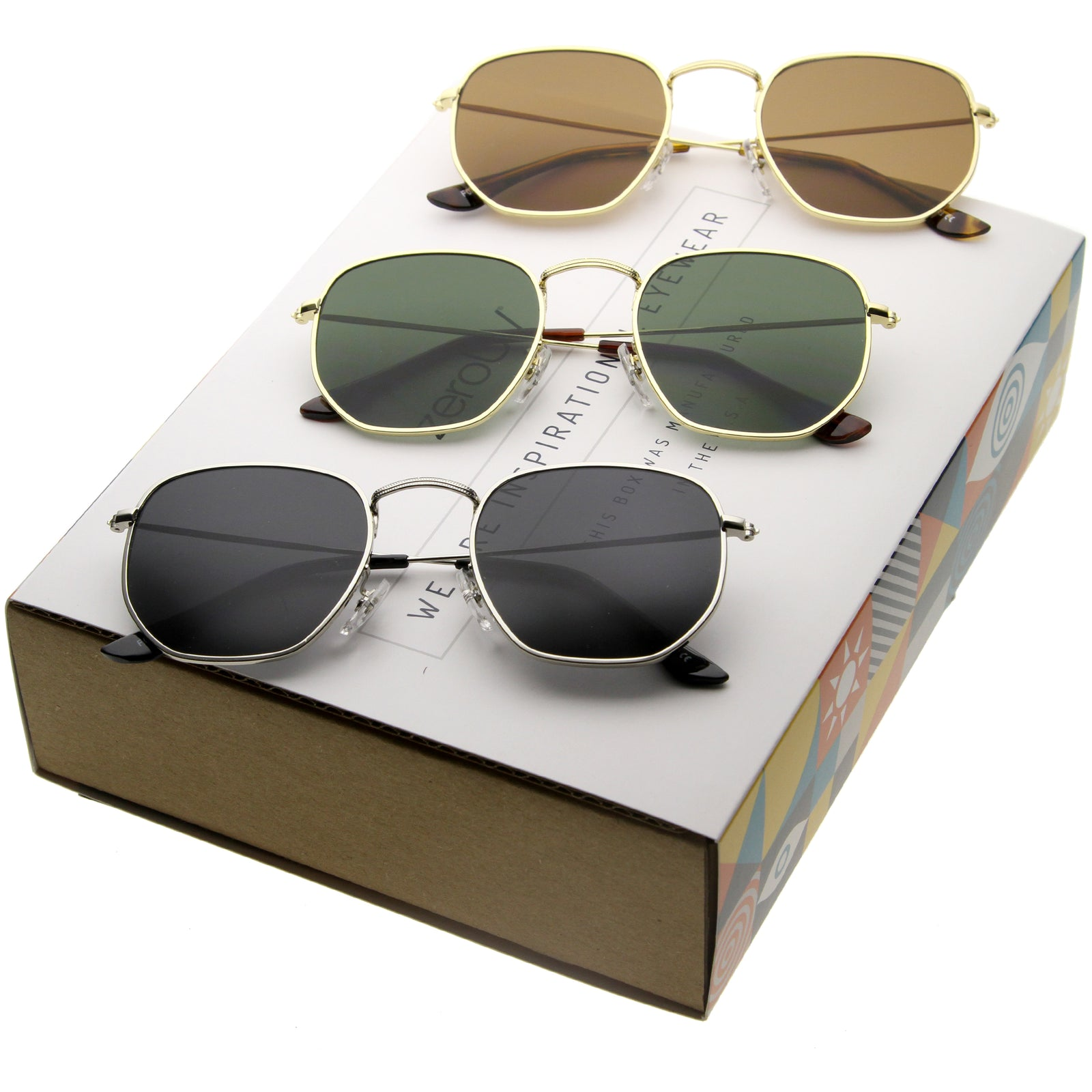 9c0913c23fd Retro Modern Hexagon Shape Metal Flat Lens Sunglasses C455  Promo Box