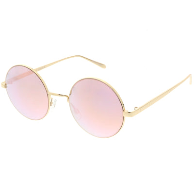 Premium Round Metal Flash Mirrored Flat Lens Sunglasses C465
