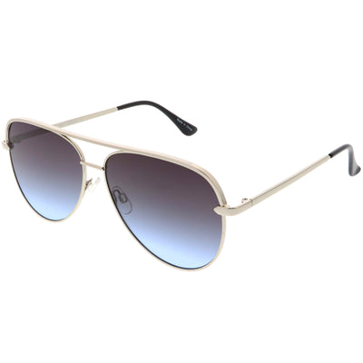 Premium Metal Flat Color Tone Lens Aviator Sunglasses 60mm C466
