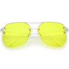 Retro Oversize Rimless Color Tone Flat Top Sunglasses C479