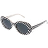 Retro 1990's Rad Clout Goggle Checkered Colored Lens Oval Sunglasses C488