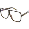 Oversize Retro Flat Top Square Shield Clear Lens Glasses C489
