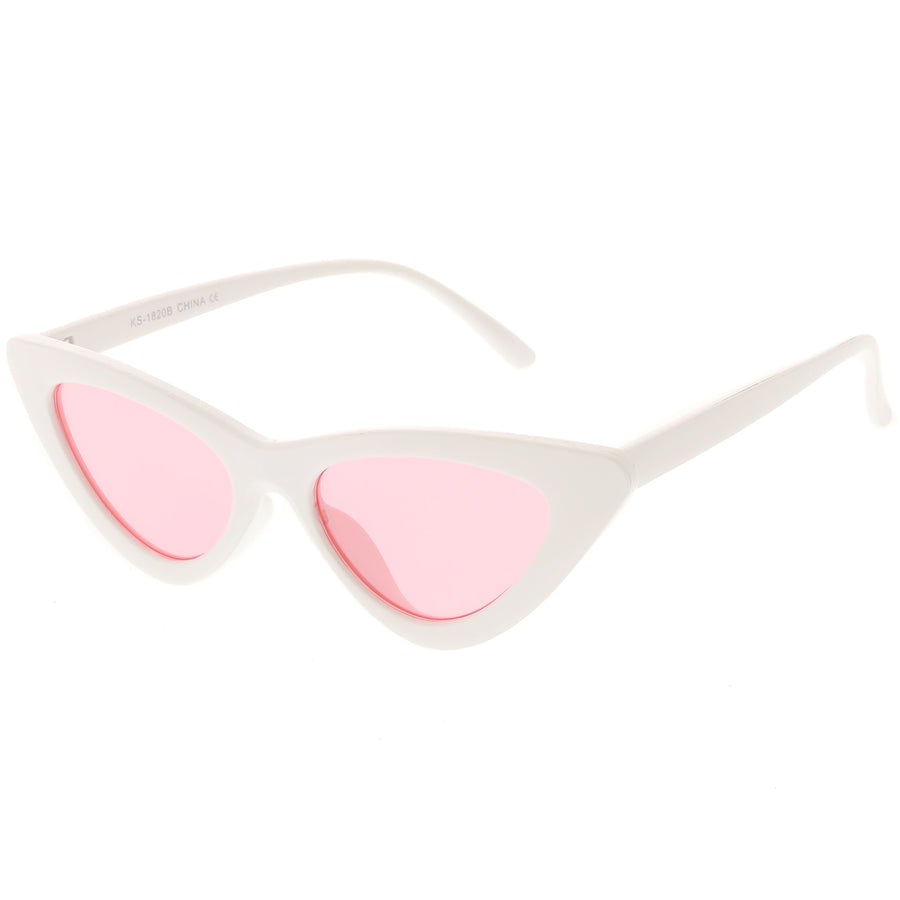Women's Retro Side Angle Cat Eye Color Lens Sunglasses C510