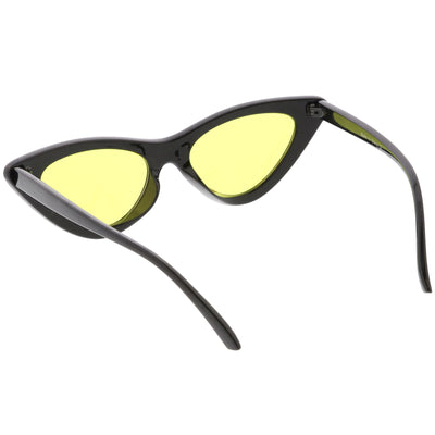 Women's Retro Flat Angle Colored Lens Black Frame Sunglasses C511