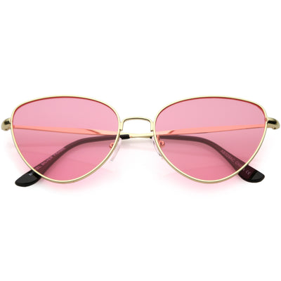 Women's Retro 1990's Fashion Colored Flat Lens Cat Eye Sunglasses C512