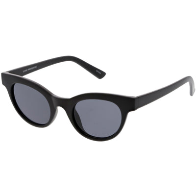 Women's Retro Horned Rim Cat Eye Narrow Flat Lens Sunglasses C514