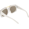 Retro Modern Geometric Oversize Mirrored Flat Lens Sunglasses C516