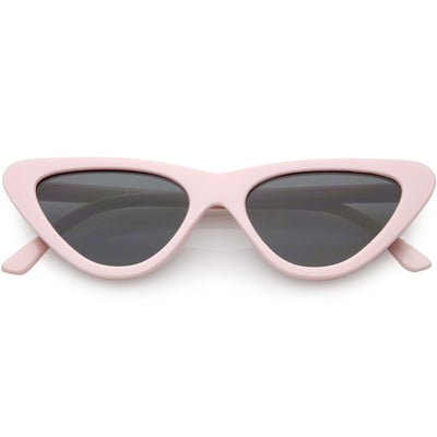 Small Retro Slim Flat Lens Cat Eye Sunglasses - C520