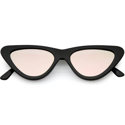 Womens Retro Narrow Flat Lens Cat Eye Sunglasses w/ Mirror Lens C521