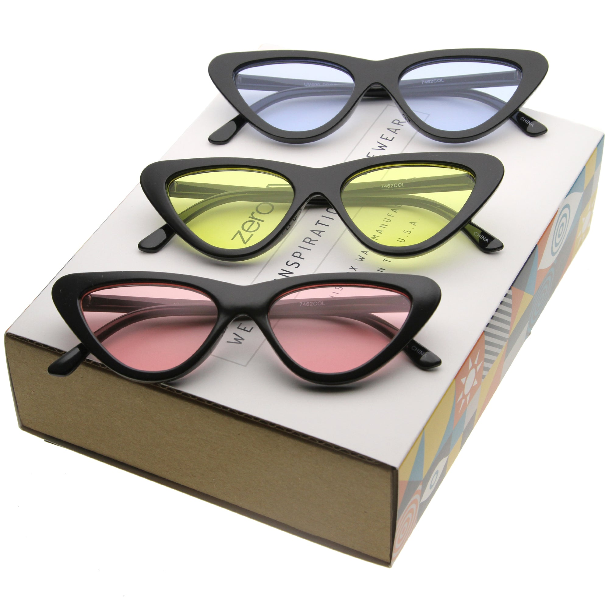 Women's Retro 1990's Color Tone Flat Lens Cat Eye Sunglasses C522 [Promo Box]