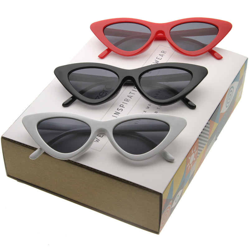 Women's Small Retro Flat Lens Cat Eye Sunglasses C523 [Promo Box]