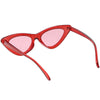 Women's Retro 1990's Narrow Flat Color Tone Lens Cat Eye Sunglasses C524