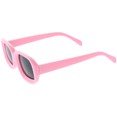 Retro Bold Deep Inset Rectangle Flat Lens Sunglasses C525