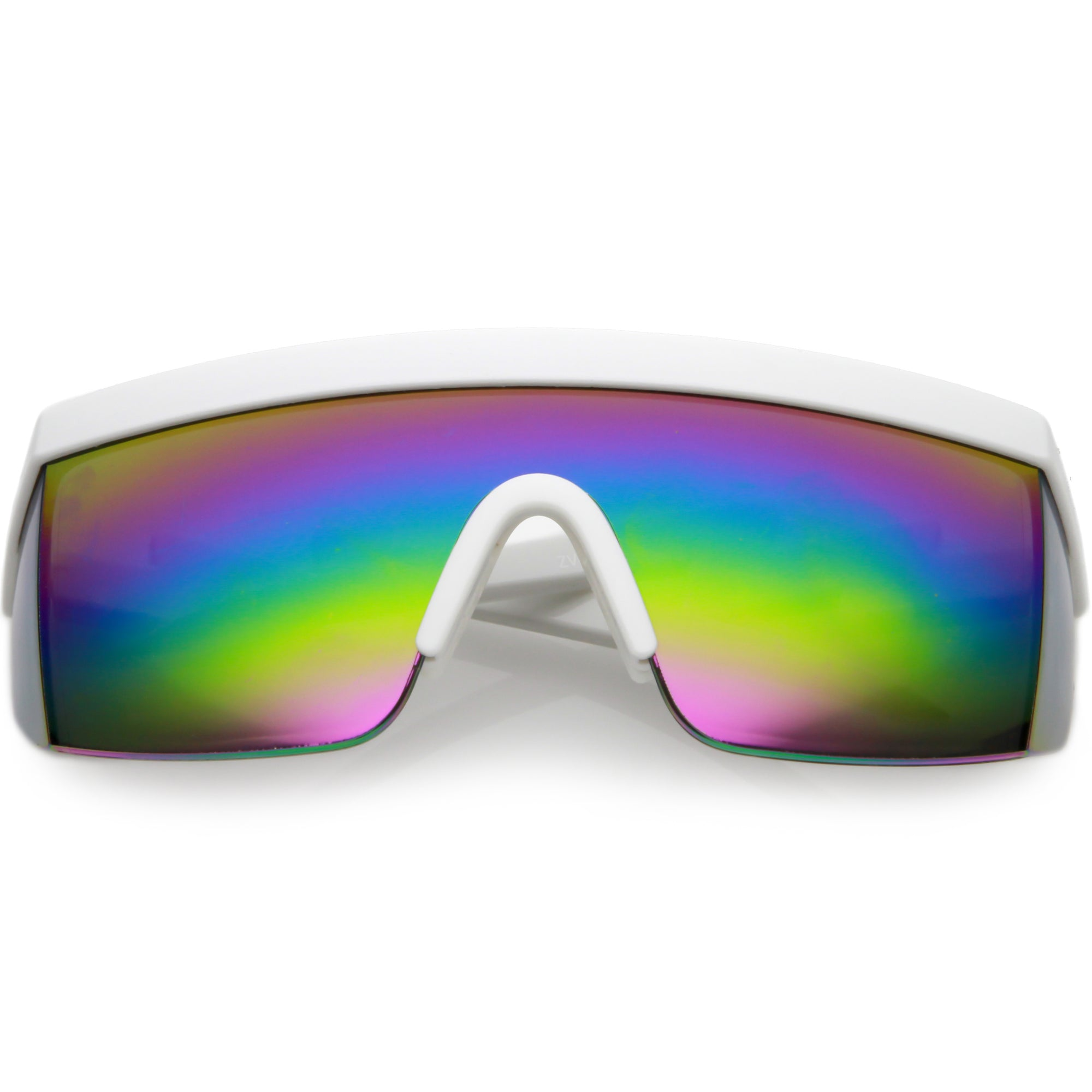 Retro Flat Top Rainbow Mirrored Goggle Shield Sunglasses C545