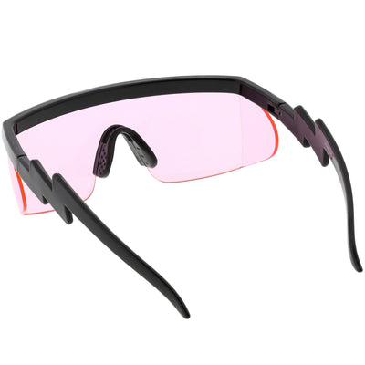 Retro Flat Top Color Tone Half Frame Goggle Shield Sunglasses C546