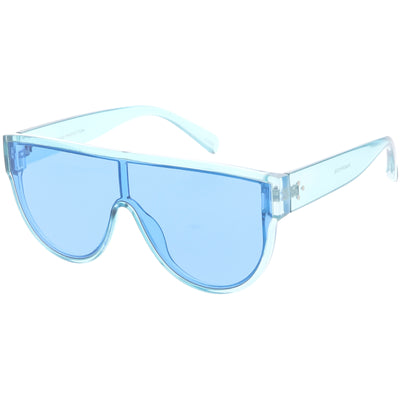 Retro Oversize Flat Top Transparent Color Tone Shield Sunglasses C559